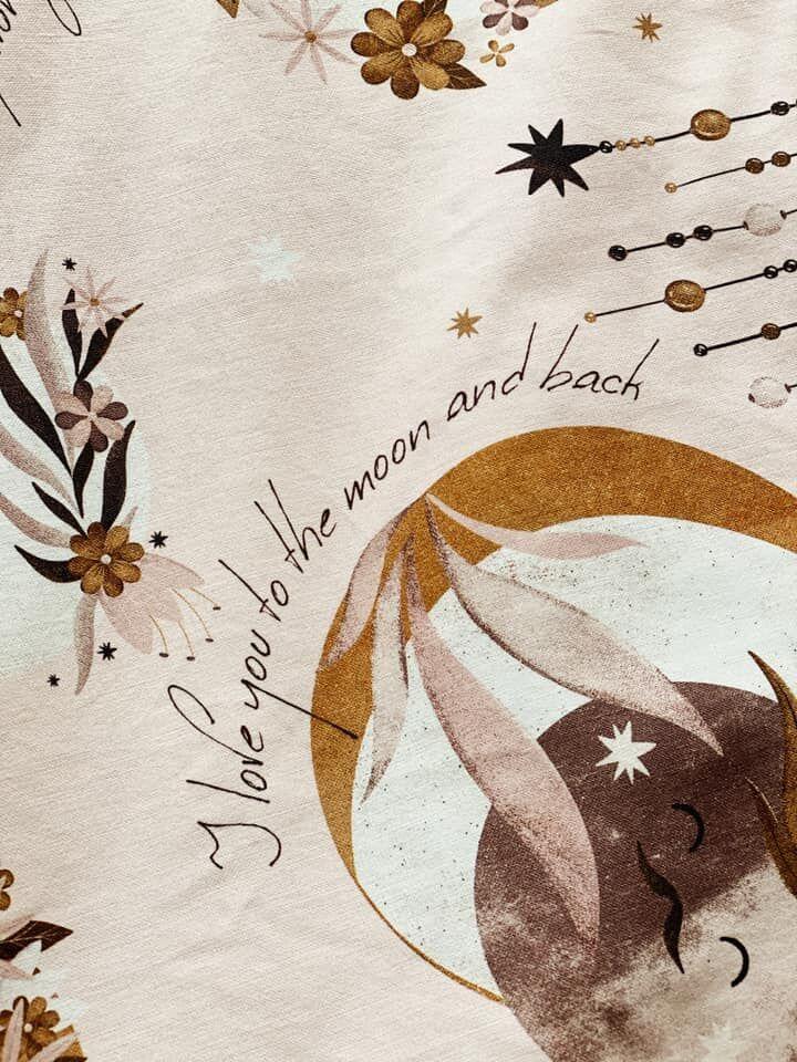 Fly me to the Moon nap, hold és álomfogó mintájú babakelengye minta