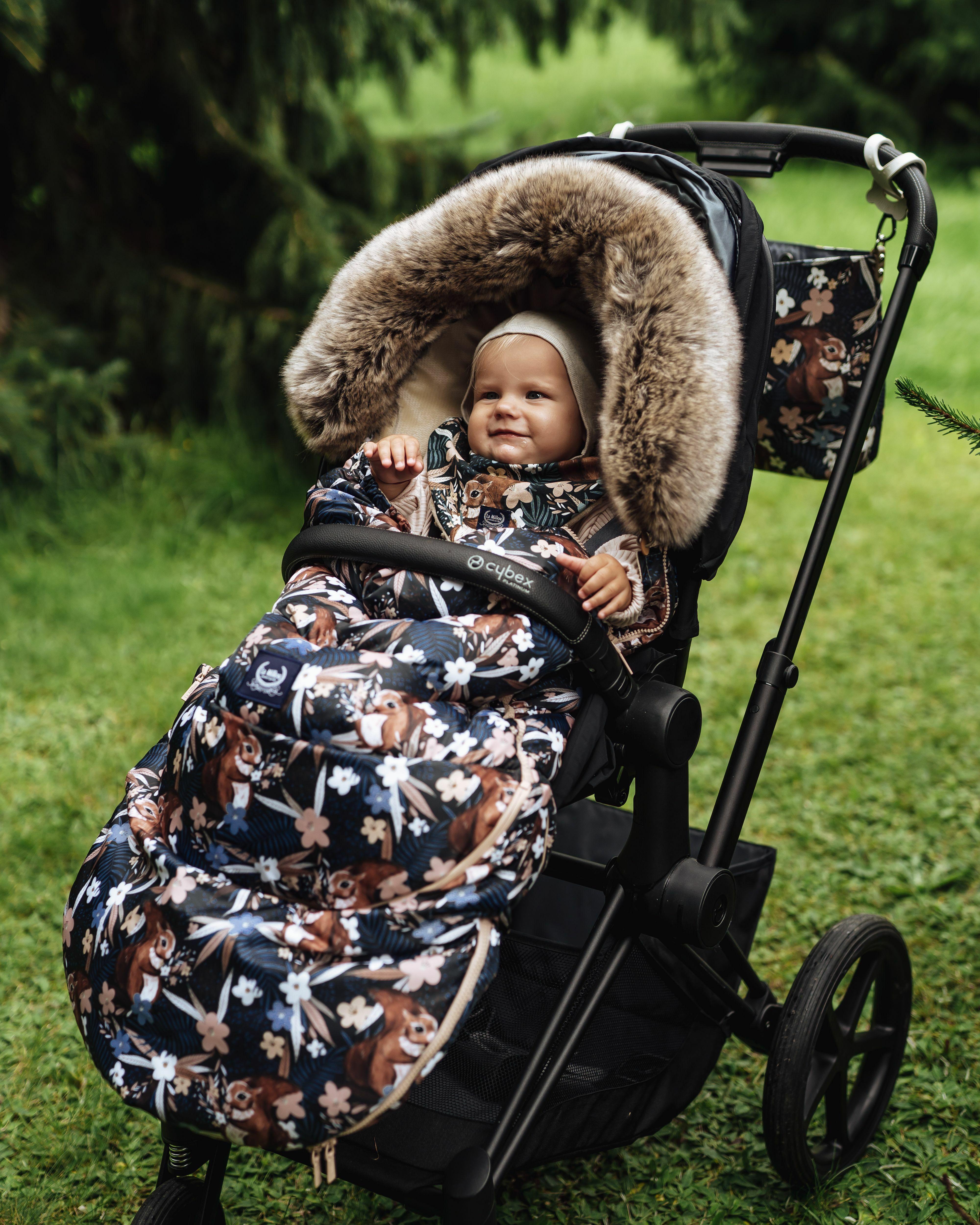 La Millou Pretty Barbara bézs-barna mókus mintás bundazsák babakocsiba