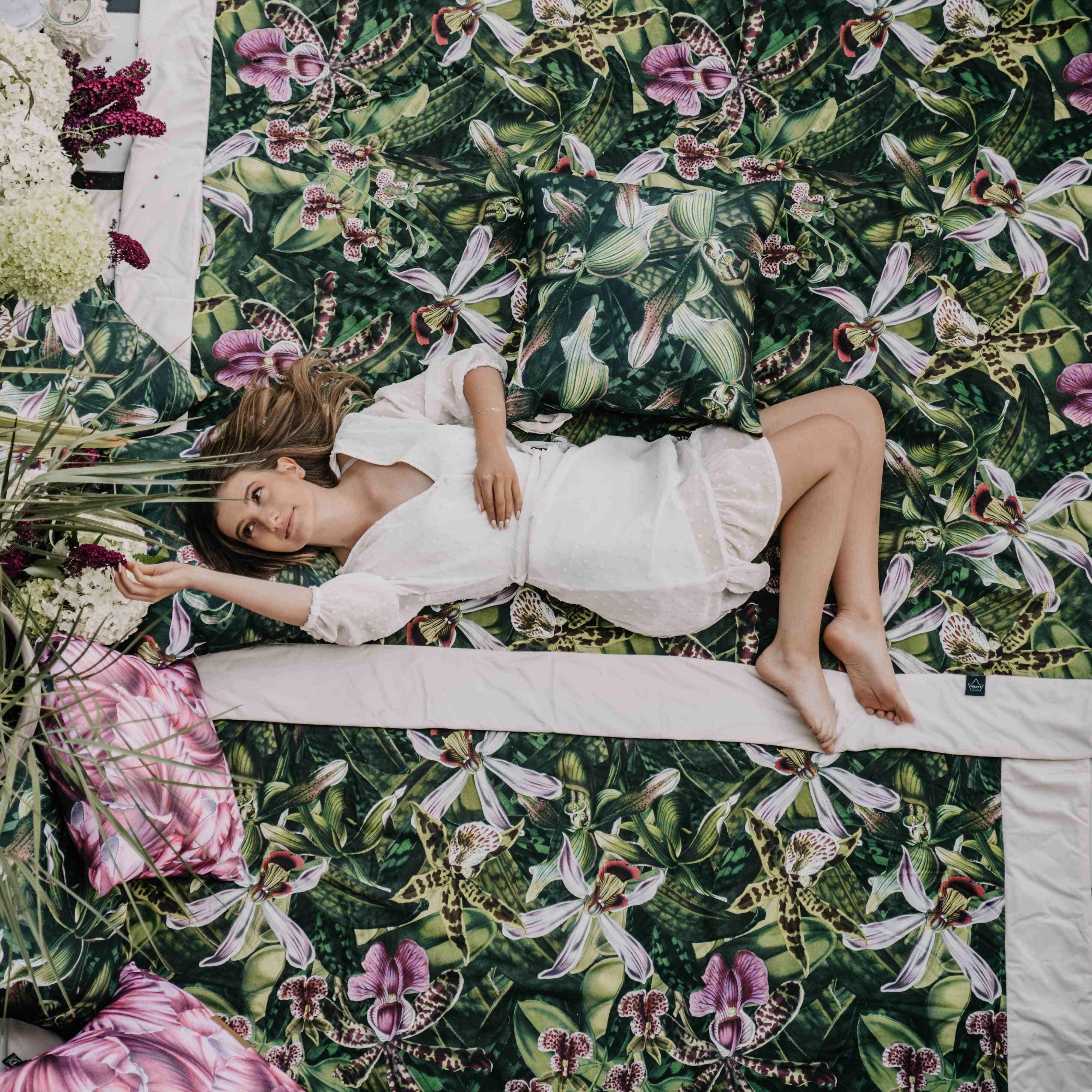extra nagy méretű virágos piknik takaró