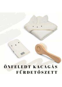 fürdőlepedő mosdatókesztyű és baba hajekfe egy csomagban fehér színben