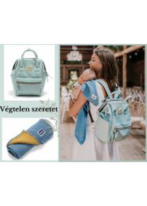 Menta/kék hátizsák és takaró baba-mama ajándékcsomag