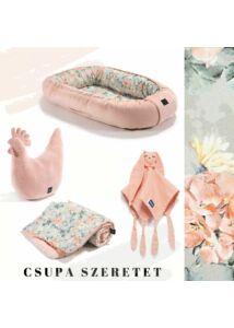 Blooming Boutique vintage virágos babafészek, pamut-velvet kétoldalas babatakaró, pipi szoptatós párna és szundikendő egy ajándékcsomagban púder rózsaszín