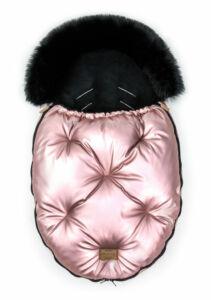 Fényes rózsaszín-Fekete bundazsák babakocsiba