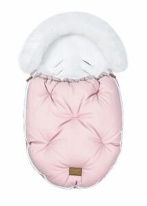 Rózsaszín-Fehér bundazsák babakocsiba