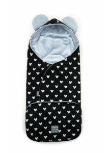 Világoskék-fekete babakocsi takaró