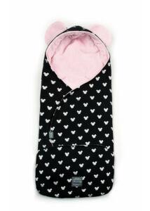 Rózsaszín-fekete babakocsi takaró