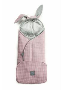 Vintage rózsaszín nyuszis babakocsi takaró