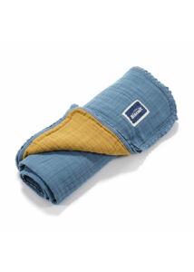 Biscuit kétoldalas muszlin babatakaró - Kék/Mustársárga