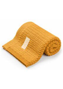 Mustár pamut kötött baba takaró