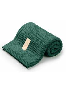 Sötétzöld pamut kötött baba takaró
