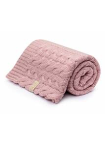 Csavart mintás púder rózsaszín merinó gyapjú baba takaró