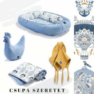 Cappadocia Sky hőlégballonos babafészek, pamut-velvet kétoldalas babatakaró, pipi szoptatós párna és szundikendő egy ajándékcsomagban kék-mustár színekben