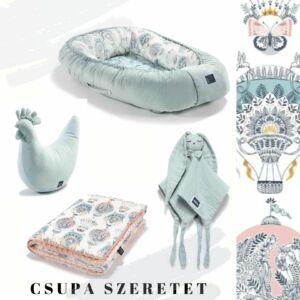 Cappadocia Dream hőlégballonos babafészek, pamut-minky babatakaró, pipi szoptatós párna és szundikendő egy ajándékcsomagban menta és rózsaszín színekben
