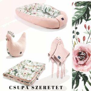 Wild Blossom rózsaszín vadvirágos babafészek, pamut-minky babatakaró, pipi szoptatós párna és szundikendő egy ajándékcsomagban