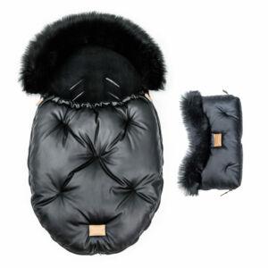 két részes baba bundazsák szett prémium eco bőr anyagból fekete színben