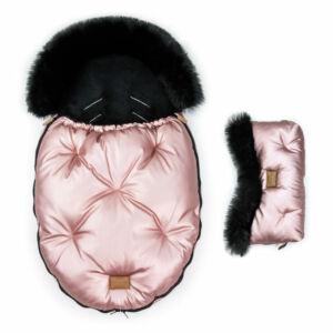 két részes baba bundazsák szett prémium eco bőr anyagból fényes rózsaszín fekete szőrmével