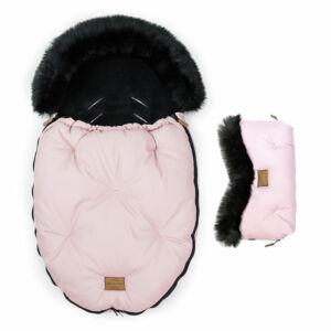 két részes baba bundazsák szett prémium eco bőr anyagból rózsaszín fekete szőrmével
