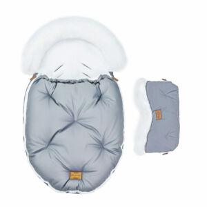 két részes baba bundazsák szett prémium eco bőr anyagból szürke fehér szőrmével