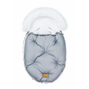 baba bundazsák prémium eco bőr anyagból szürke fehér szőrmével