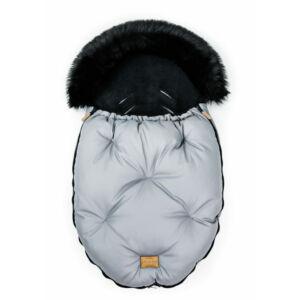 baba bundazsák prémium eco bőr anyagból szürke fekete szőrmével