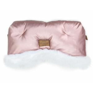 babakocsi kézmelegítő fényes rózsaszín színben fehér szőrmével