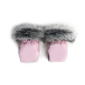 rózsaszín babakocsi kesztyű szőrmével