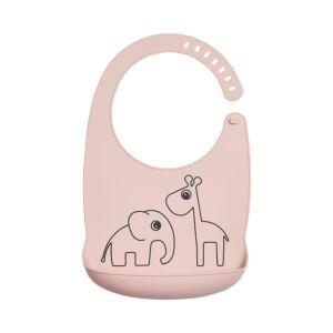 vízhatlan, szilikon előke babáknak púder rózsaszín Elphee az elefánt és Raffi a Zsiráf mintával