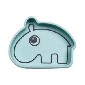 Ozzo a víziló szilikon tapadós tál babáknak kék színben Done by Deer