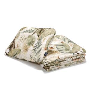 baba ágynemű szett töltettel és kispárnával 80x100 cm khaki zöld és bézs színben egzotikus majom, kókuszdió és trópusi pálma levél mintával Boho Coco
