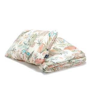 baba ágynemű szett töltettel és kispárnával 80x100 cm rózsaszín menta pálma leveles Boho Girl