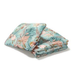 baba ágynemű szett töltettel és kispárnával 80x100 cm kék-rózsaszín trópusi virág és pálmalevél mintával La Millou Boho Palms