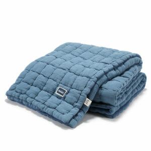 steppelt felnőtt méretű takaró muszlin pamutból kék színben
