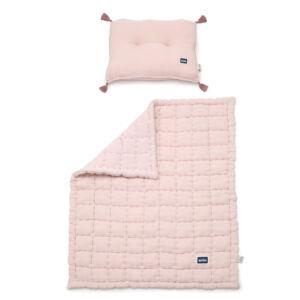 steppelt babaágynemű szett töltettel és kispárnával muszlin anyagból púder rózsaszín színben
