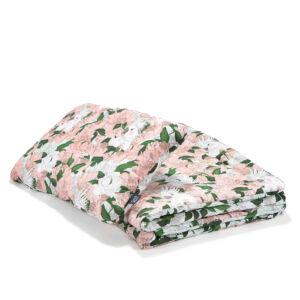 óvodás ágynemű szett töltettel és kispárnával rózsaszín színben bazsarózsás mintával