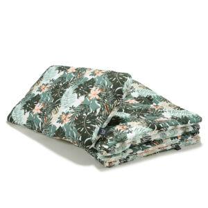 újszülött baba ágynemű szett töltettel és kispárnával khaki zöld színben dzsungeles mintával