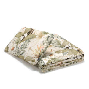 ovis ágynemű szett töltettel 100x135 cm khaki zöld és bézs színben pálmalevél, majom kókuszdió mintával Boho Coco