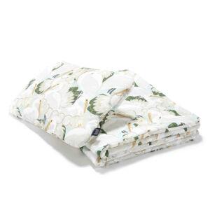 ovis ágynemű szett töltettel 100x135 cm krém színű lótusz és kócsag madár mintával La Millou Heron in Lotus