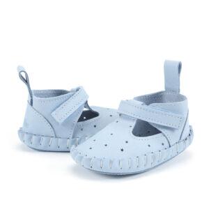 babakék tépőzáras babacipő, kocsicipő valódi bőrből járni nem tudó babáknak 0-6 hónapos korig