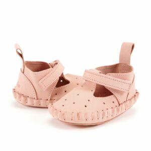 rózsaszín tépőzáras babacipő, kocsicipő valódi bőrből járni nem tudó babáknak 0-6 hónapos korig