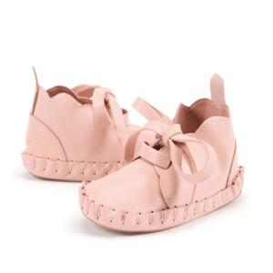 púder rózsaszín bőr babacipő, kocsicipő járni nem tudó babáknak 0-6 hónapos korig