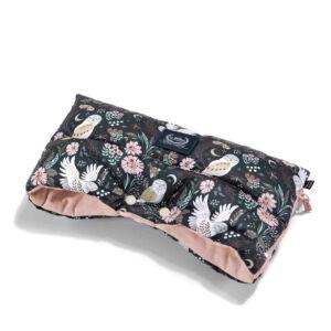 meleg téli Babakocsi kézmelegítő hamvas rózsaszín bagoly mintával