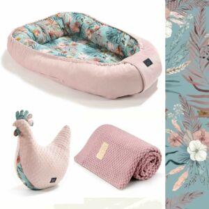 trópusi babafészek szett pipi szoptatós párnával és merinó gyapjú baba takaróval kék és rózsaszín színben La Millou Boho Palms