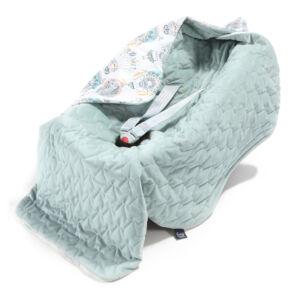 hordozós takaró velvet babakocsi takaró hamvas menta hőlégballon mintával