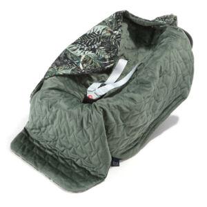 hordozós takaró velvet babakocsi takaró khaki zöld levél mintás botanical