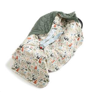 hordozós takaró velvet babakocsi takaró khaki zöld állatkerti állatos mintával Zoo