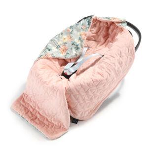 hordozós takaró velvet babakocsi takaró púder rózsaszín vintage virág mintás