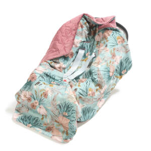 hordozós takaró babakocsi takaró mályva színű velvet anyagból rózsaszín-kék trópusi virág és pálma mintával La Millou Boho Palms