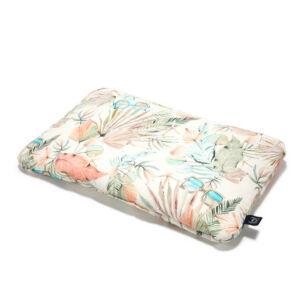 Pamut párna 40 x 60 cm méretben menta és rózsaszín egzotikus, trópusi pálmalevél mintával Boho Girl