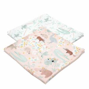 2 darabos textil pelenka pamut muszlin koala wombat kenguru mintával rózsaszín Dundee and Friends Pink
