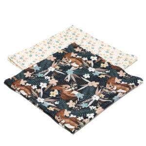 2 darabos textil pelenka pamut muszlin bézs és barna erdei levelek és mókus mintával La Millou Pretty Barbara
